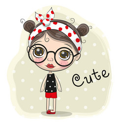 cute cartoon girl with a glasses vector image