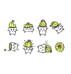 cute little cacti character emotions vector image