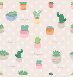 cute pastel minimal cactus and succulent in pot vector image