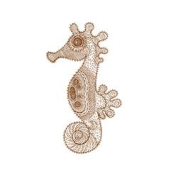 decorative brown line sea horse in zentangle style vector image