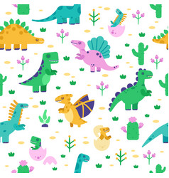 dinosaur pattern cute dino doodle pattern vector image