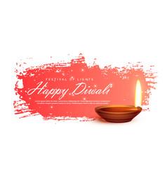 Diwali festival banner with realistic diya vector
