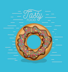 donut chocolate with sparks tasty food poster in vector image