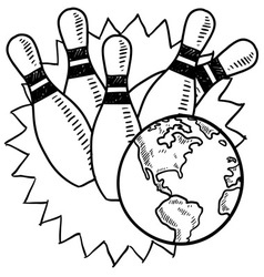 doodle bowling earth vector image