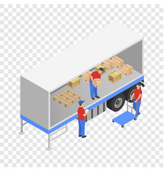 Downloading the truck icon isometric style vector