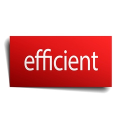 Efficient red square isolated paper sign on white vector