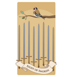 Eight swords tarot cards bird on a branch on vector