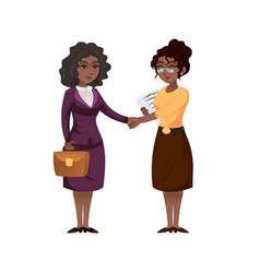 Ethnic business women shaking hands vector