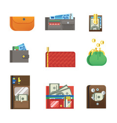 flat money wallet icon check list making purchase vector image vector image