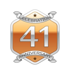 Forty one years anniversary celebration silver vector image