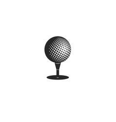 golf logo design mockup ball on stand tee vector image