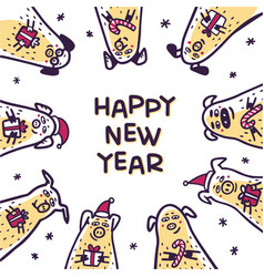 Happy new year pig greeting card funny pigs with vector