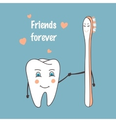 Happy tooth and toothbrush cartoon characters vector image