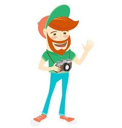 Hipster funny bearded man with camera Flat style vector image