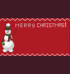 knit christmas design with snowman vector image