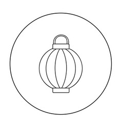 korean lantern icon in outline style isolated on vector image