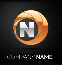 letter n logo symbol in the golden-silver circle vector image