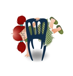 Little Girl Wearing Glasses Playing on a Chair vector