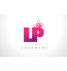 Lp l p letter logo with pink purple color and vector