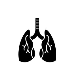 lungs black icon sign on isolated vector image
