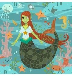 Mermaid pattern vector
