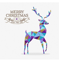 Merry christmas reindeer triangle hipster origami vector