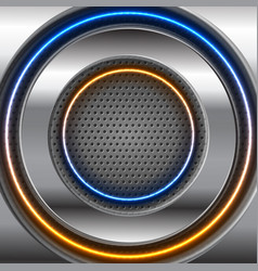 metallic and glow neon circles on perforated vector image