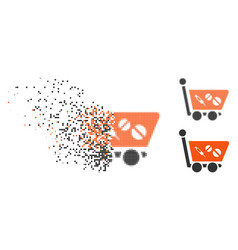 Moving dotted halftone medication shopping cart vector