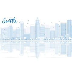 Outline Seattle skyline with blue buildings vector