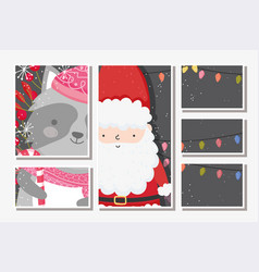 santa and raccoon lights foliage snow merry vector image