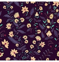 Seamless pattern flowers dark vector