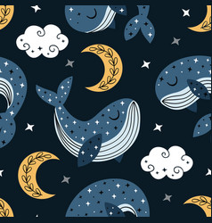 Seamless pattern with blue whale and moon vector