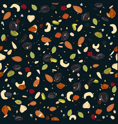 seamless pattern with dried fruits nuts oatmeal vector image