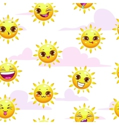 Seamless summer childish pattern vector image