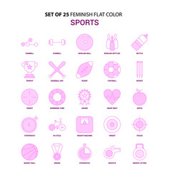 Set of 25 feminish sports flat color pink icon set vector