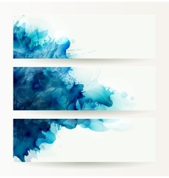 set of three banners abstract headers with blue vector image