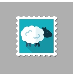 Sheep flat stamp with long shadow vector