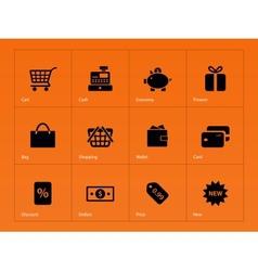 Shopping icons on orange background vector image