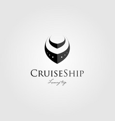 simple cruise ship clean logo design vector image