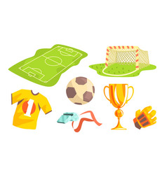 soccer elements set field trophy cup ball vector image