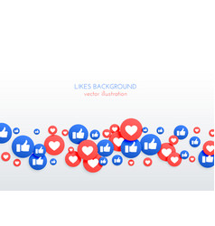 Social network like thumb up and heart icons vector