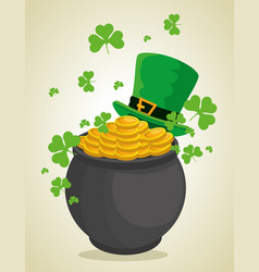 st patrick hat and couldron with coins to vector image