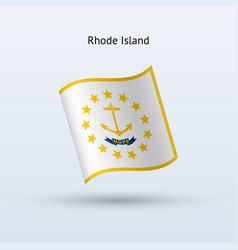 state of rhode island flag waving form vector image