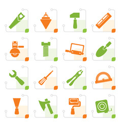 Stylized building and construction tools icons vector