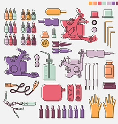 Tattoo kit and colorful equipment vector image