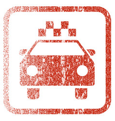 Taxi automobile framed textured icon vector