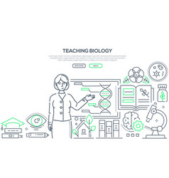 Teaching biology - colorful line design style vector