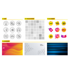 technical info vacancy and headphones icons vector image