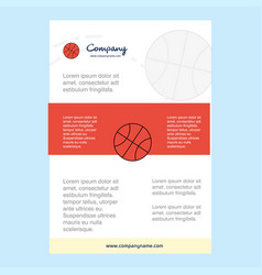 template layout for basket ball comany profile vector image