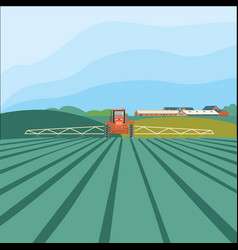 Tractor in the field agribusiness concept vector
